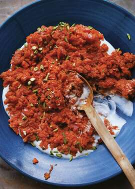 """The Crushed Carrots with Harissa & Pistachios recipe is from Yotam Ottolenghi's """"Plenty More: Vibrant Vegetable Cooking From London's Ottolenghi."""""""