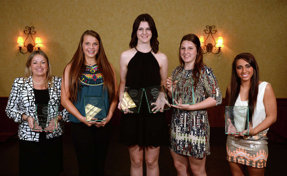From left, Little Cypress-Mauriceville's Vicki Castino, Lumberton's Lauren Glover, Little Cypress-Mauriceville's Sarah Woods, Port Neches-Groves' Kelsey Collier and Evadale's Karley Beard at the Beaumont Enterprise Super Gold Banquet on Monday.   Photo taken Monday, December 15, 2014  Guiseppe Barranco/The Enterprise Photo: Guiseppe Barranco, Photo Editor
