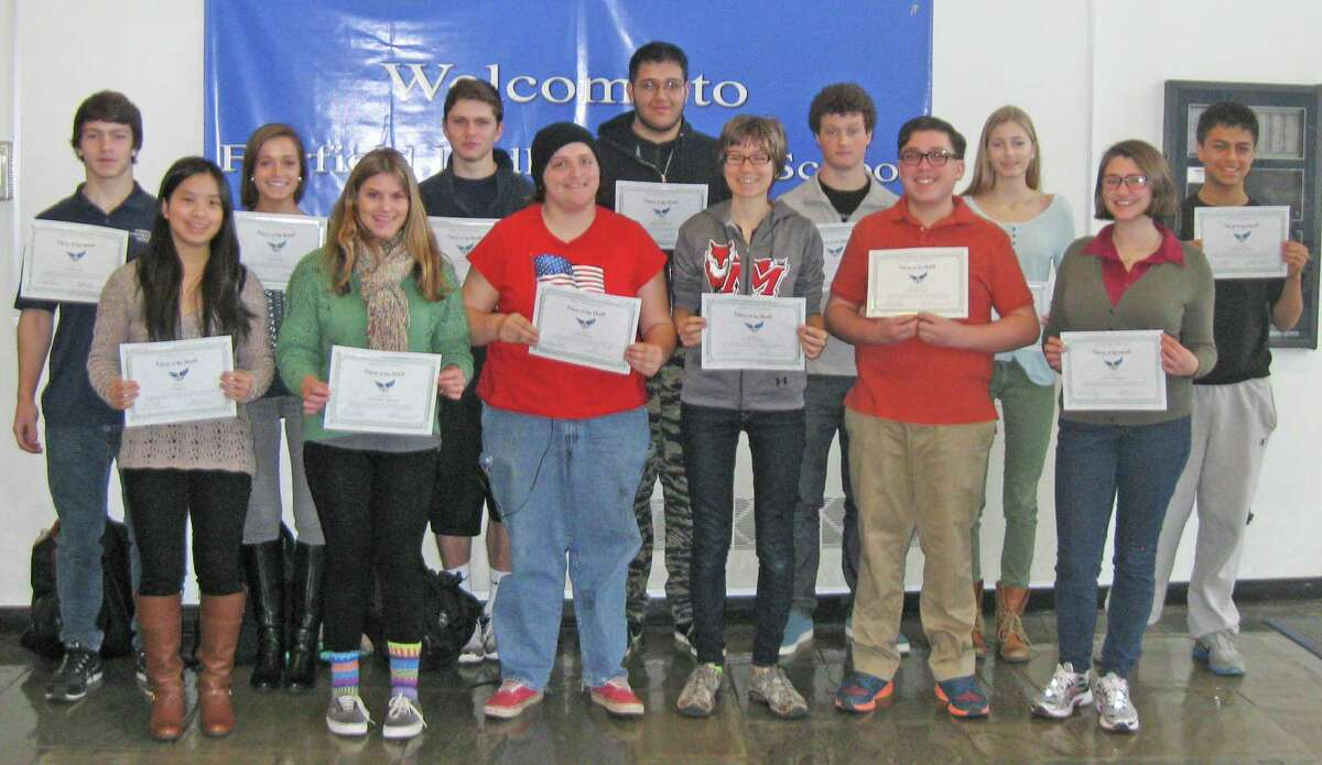 DECEMBER FALCONS OF THE MONTH These 13 Fairfield Ludlowe High School students were honored as the school's Falcons of the month for December. Each month, Ludlowe honors students for reflecting a particular trait in the school's mission statement. That trait for December was demonstrating a love of learning, and students were awarded certificates at a ceremony. From left are Chase Lind, Emily Ji, Sarah Ford, Allie DeLuca, Alex Scott, Anna Seirup, Santiago Alfonso, Sarah Kryspin, Calder McCay, Nick Fech, Emery Wallace, Jesse Sprague and Brandon Corrales. Fairfield CT. December 2014.