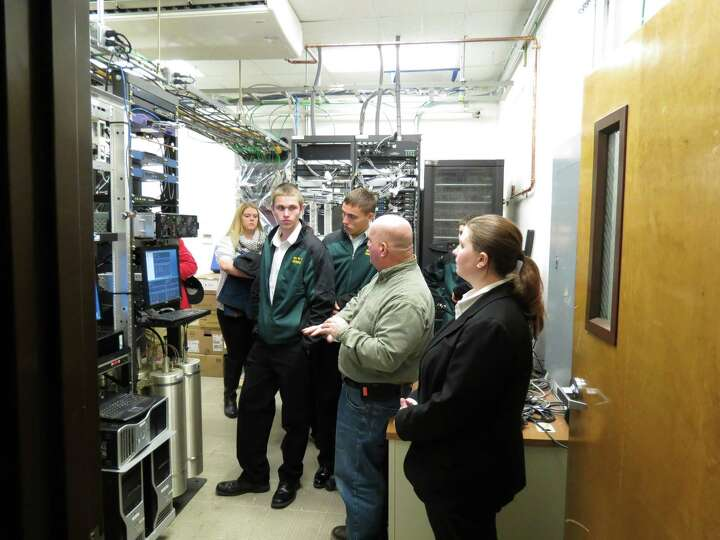 Criminal justice students from Southern Vermont College in Bennington tour the 911 Center at Albany