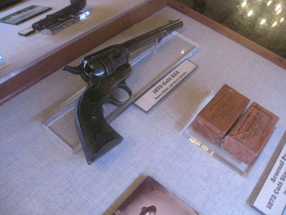 """This 1873 Colt SAA was a common pistol of the era. In Texas, it would have been illegal for anyone who was not a peace officer or other official to carry such a gun under an 1871 prohibition on pistols that is still on the law books today. The pistol was photographed at the Alamo's current exhibit """"Firearms of the Texas Frontier: 1836-1876."""""""