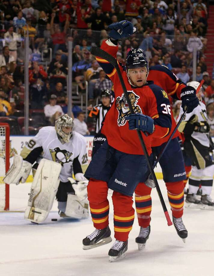 SUNRISE, FL - DECEMBER 22:  Jussi Jokinen #36 of the Florida Panthers celebrates a goal during a game against the Pittsburgh Penguins at BB&T Center on December 22, 2014 in Sunrise, Florida.  (Photo by Mike Ehrmann/Getty Images) ORG XMIT: 507048405 Photo: Mike Ehrmann / 2014 Getty Images