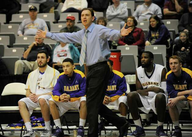 UAlbany head coach Will Brown coaches his players against Fairfield during an NCCA basketball game in Albany, N.Y., Monday, Dec. 22, 2014. (Hans Pennink / Special to the Times Union)    ORG XMIT: HP109 Photo: Hans Pennink / Hans Pennink