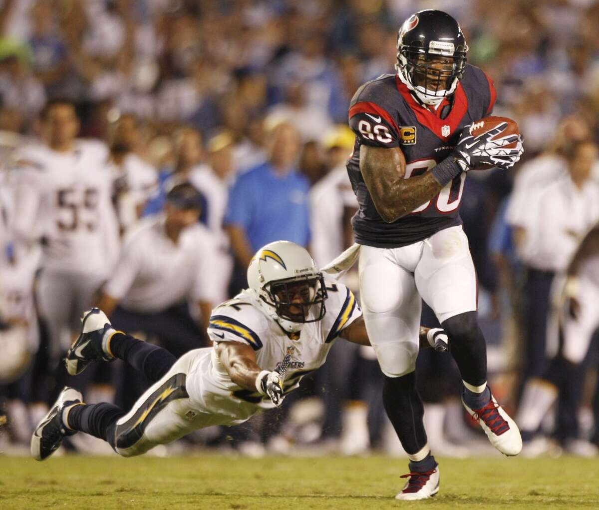 #9: 2013 at San Diego Chargers Stats: 12 catches, 146 yards, 0 TDs Significance: His final catch allowed the Texans to convert a late third-down, setting up Randy Bullock's last-second game-winning field goal in a 31-28 season-opening victory.
