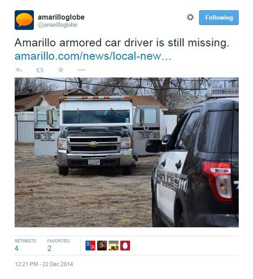 Amarillo police believe a 24-year-old armored car driver could be in danger after his armored vehicle had been found unoccupied, running and empty of its contents on Monday.