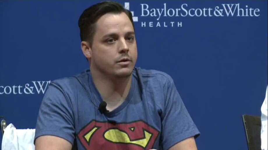 """Patrick Crawford, the Central Texas meteorologist who was shot last week outside of his TV station, told reporters Monday that he is """"slowly getting better"""" during a press conference at the hospital in Temple where he's receiving care. Photo: Screenshot From KWTX Via NDN"""