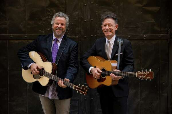 Robert Earl Keen and Lyle Lovett photographed by Darren Carroll in Austin, Texas at The Paramount Theatre, May 21, 2013.