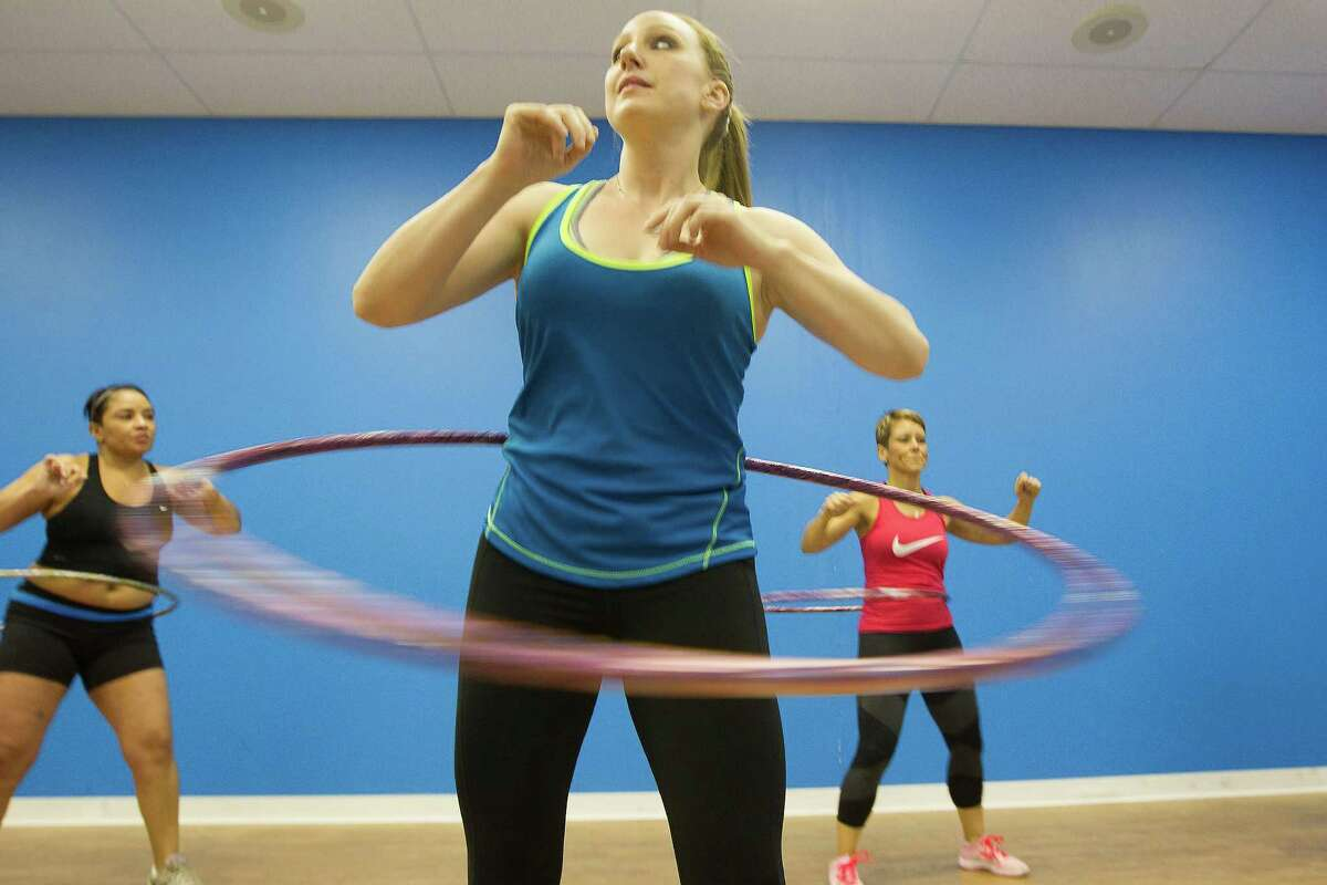 Jessica Roland takes her hula hoop for a spin as part of Boykin's class.