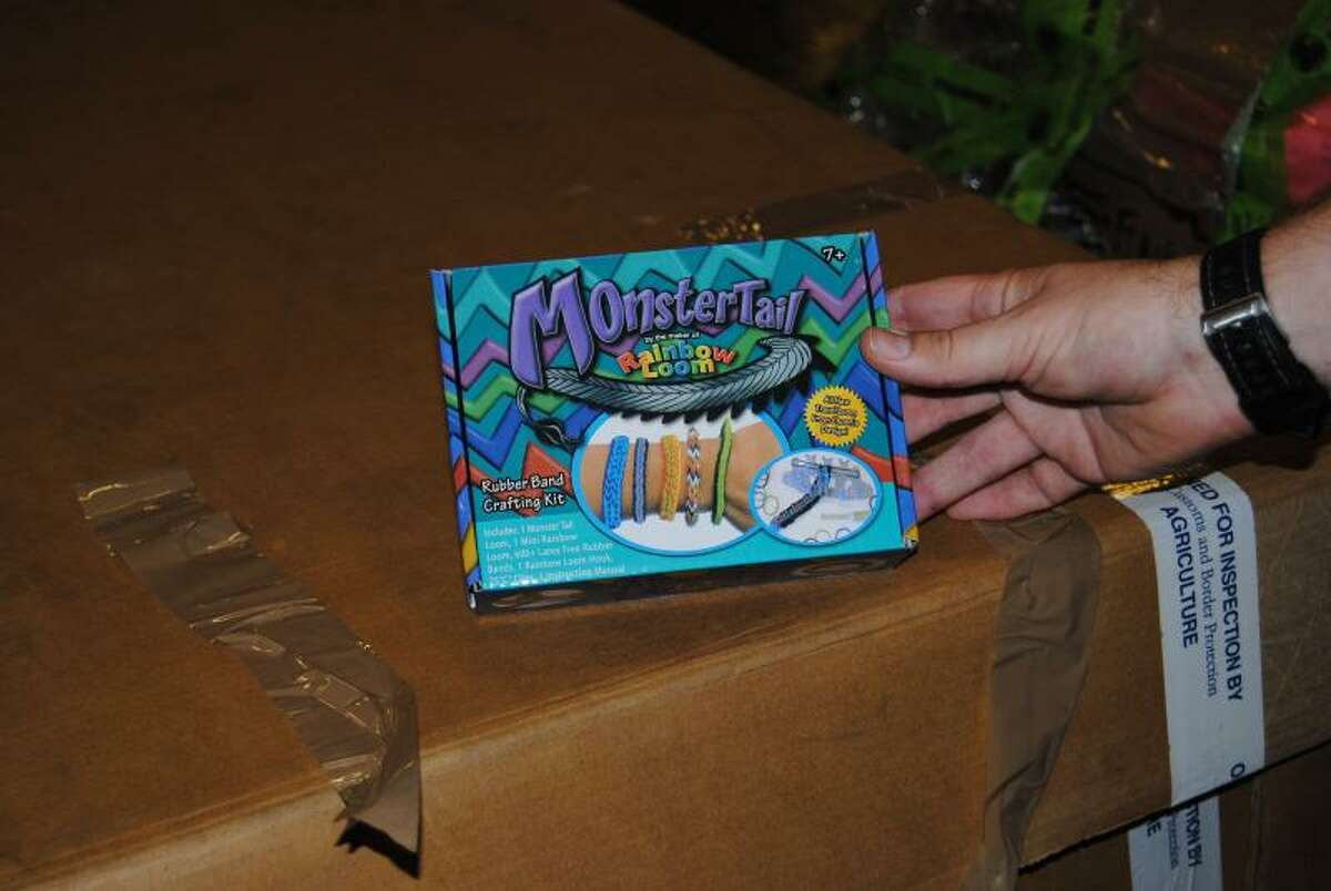 At the Dallas/Fort Worth International airport, officers seized 200 counterfeit Rainbow Loom Monster Tail kits on Nov. 16, 2014. Common harmful substances found in counterfeit toys include lead or phthalates.