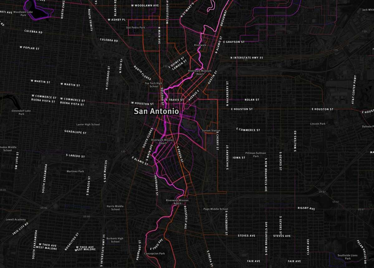 Pictured: highlighted routes frequently used downtown, including along the River Walk.