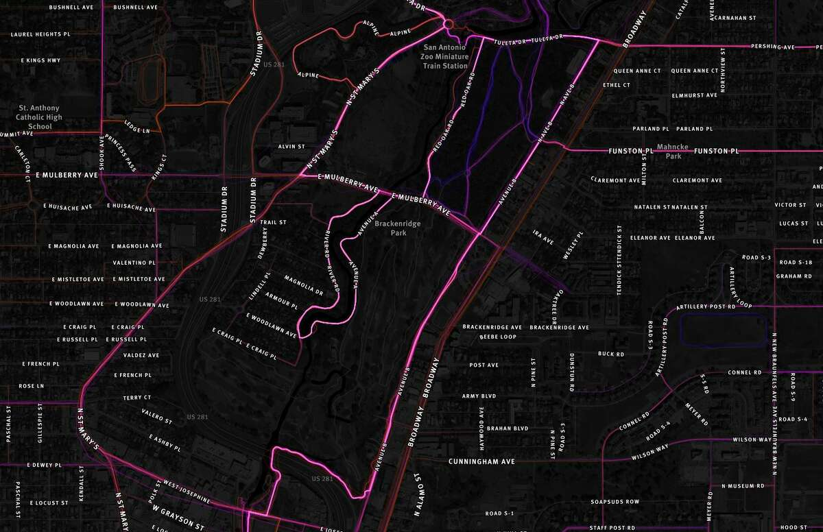 Pictured: highlighted routes in Brackenridge Park and areas near Broadway.
