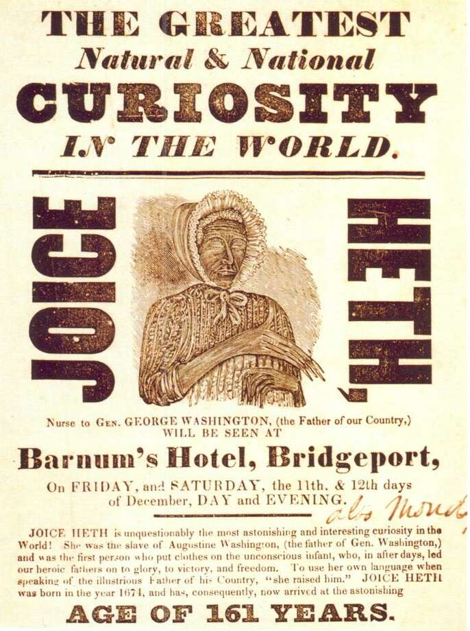 The first image from the Barnum Museum is of Joice Heth, a slave Barnum bought – and emancipated – in 1835. She was purported to be the 161-year-old nursemaid to George Washington. Photo: Contributed Photo / Connecticut Post Contributed