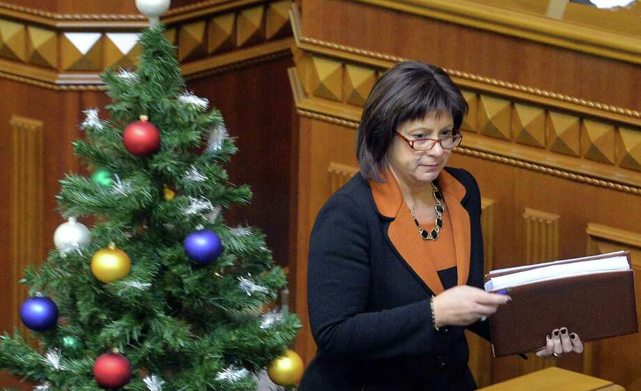 Finance Minister Natalia Jaresko presents the 2015 budget to parliament. Lawmakers also dropped Ukraine's nonaligned status, angering Russia. Photo: GENYA SAVILOV / AFP/Getty Images / AFP