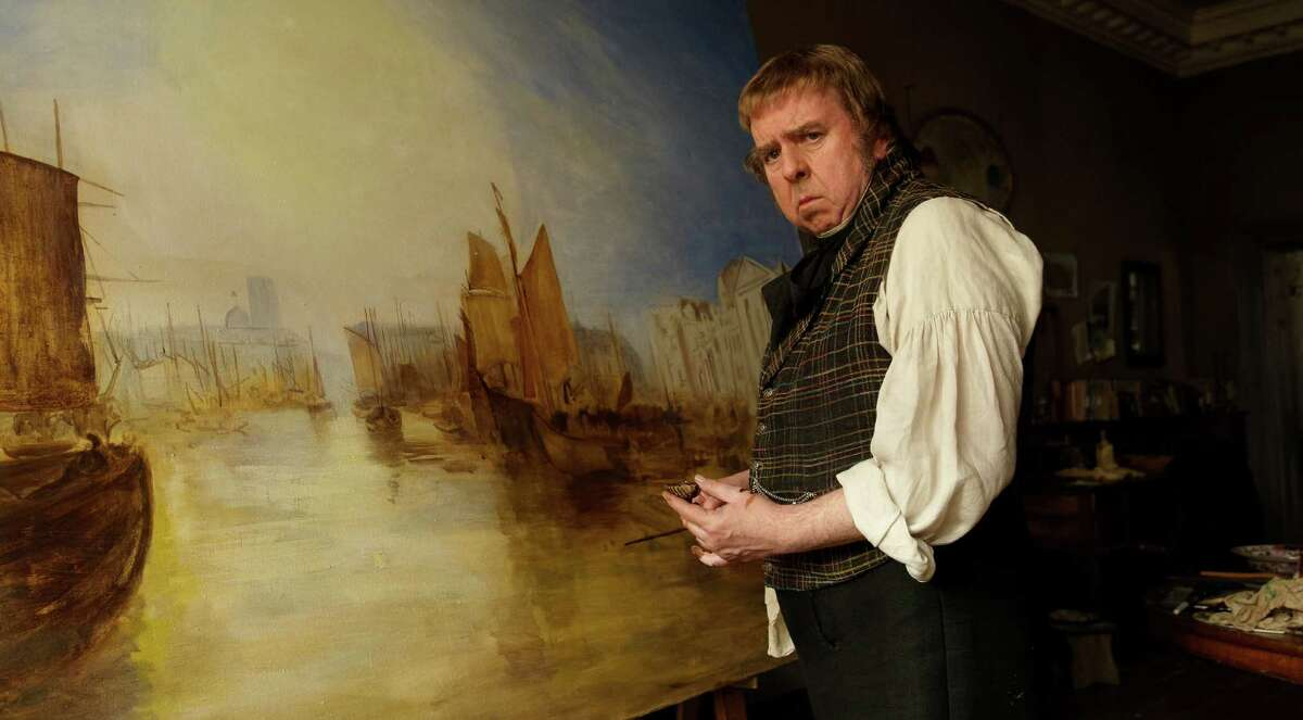 Timothy Spall portrays the 19th century British painter J.M.W. Turner, whose verbal communication consists mainly of grunts, in