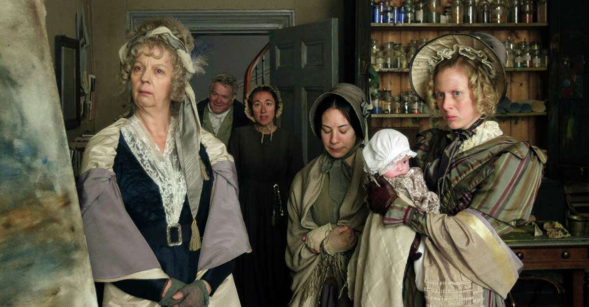 From left, Ruth Sheen as Sarah Danby, Paul Jesson as William Turner, Dorothy Atkinson as Hannah Danby, Amy as Georgiana and Sandy Foster as Evelina in