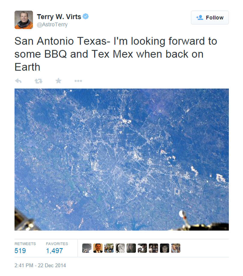 San Antonio, Texas, from space. Tweet from astronaut Terry Virts: https://twitter.com/AstroTerry/status/547160009407475712 Photo: Screenshot From Twitter