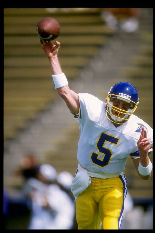 Quarterback Jeff Garcia lettered in football and basketball at Gilroy High and went on to quarterback at San Jose State from 1991-93. While there, he set the school record for career passing yards (7,274). Photo: Otto Greule Jr.