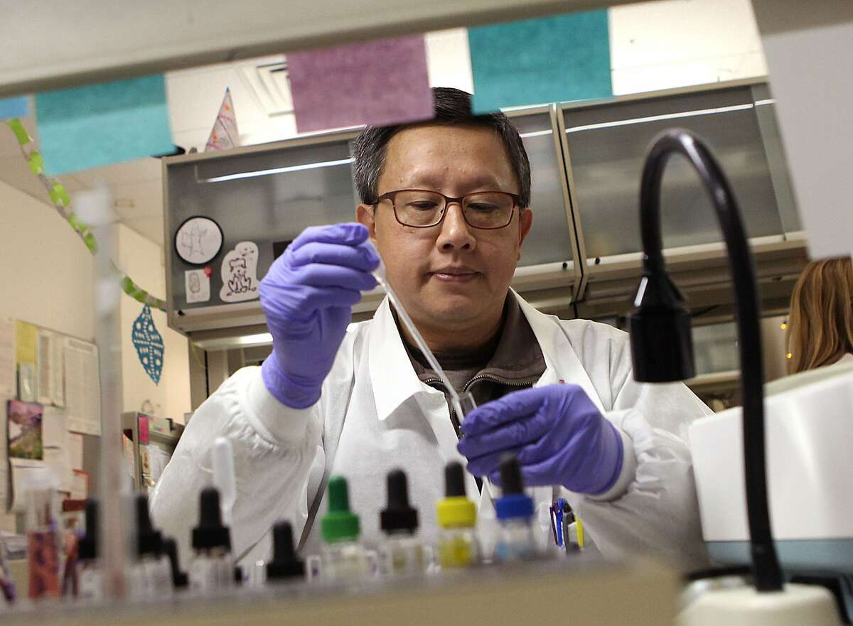 Reference lab clinical laboratory scientist Joseph Ong does patient antibody identification at Blood Centers of the Pacific in San Francisco, Calif., on Thursday, December 4, 2014.