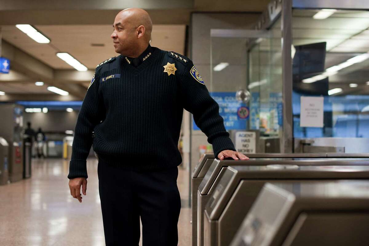BART Police Chief Kenton Rainey keeps an eye on activities at the Lake Merritt Station in Oakland.