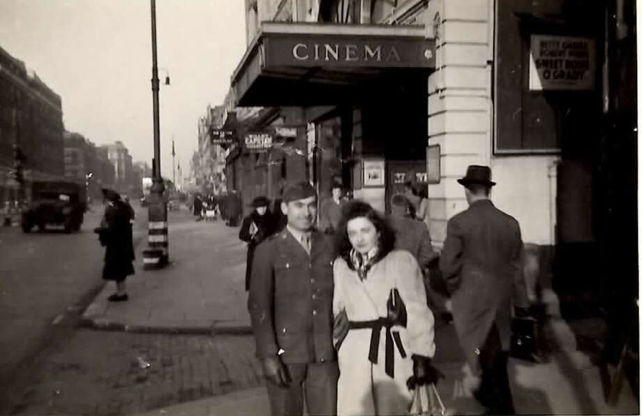 Clay McIver with friend while serving in England during World War W II.