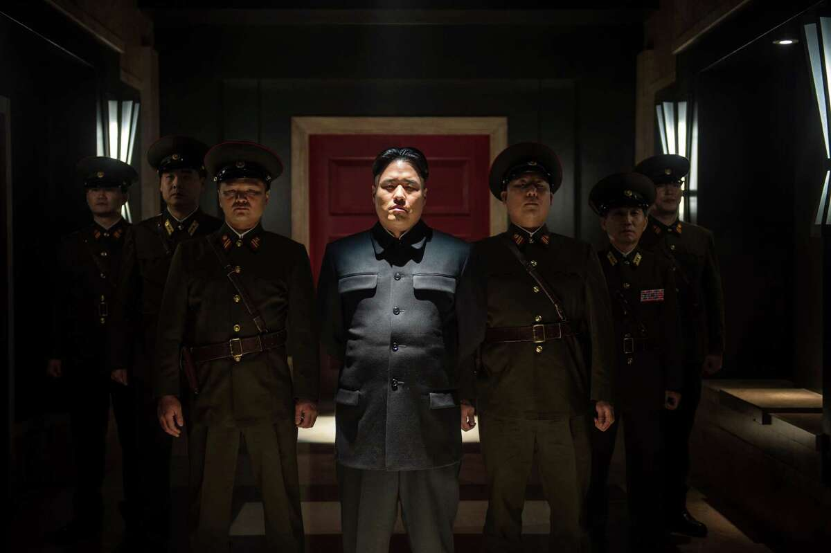 Randall Park (center) plays North Korean leader Kim Jong Un in Columbia Pictures'