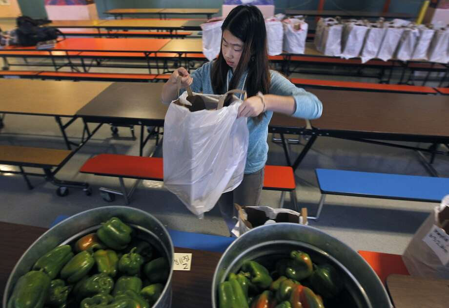 Fanny Lao fills grocery bags for the Healthy Children Pantries program at Hoover Middle School in San Francisco, Calif. on Friday, Dec. 5, 2014. The San Francisco-Marin Food Bank provides healthy food for students and their families in 60 schools. Photo: Paul Chinn, The Chronicle