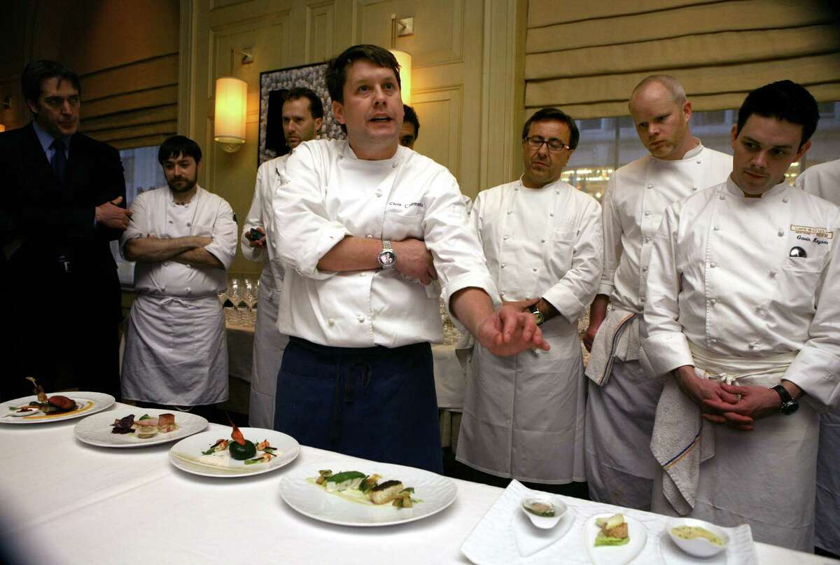 Chris L'Hommedieu talks about the food to be served before La Poulee de San Francisco 2008 -- a celebration of burgundy wine where 50 elite guests will taste the newest releases and older vintage wines of the growers from over twenty five of the most sought after domaines of Burgundy. The event was held Thursday, Feb. 27, 2008 at the Westin St. Francis in Michael Mina's restaurant.