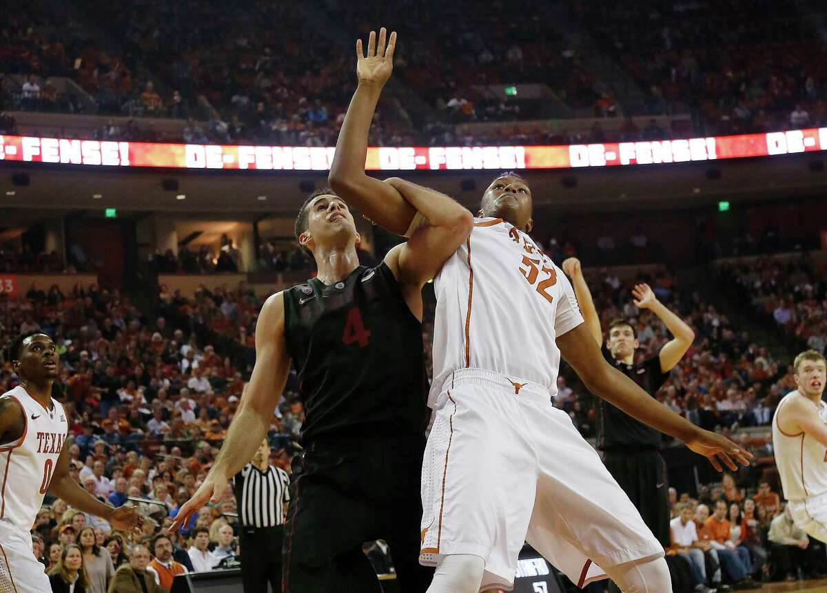 Myles Turner battles Stefan Nastic of Stanford for position at the Frank Erwin Center. Stanford beat Texas 74-71 in overtime.