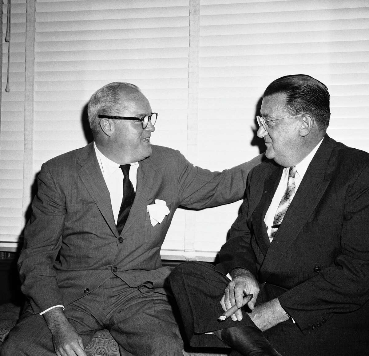 Horace Stoneham (left), who brought the New York Giants to San Francisco, died in 1990. He is shown with Walter O'Malley, who brought the Brooklyn Dodgers to Los Angeles.