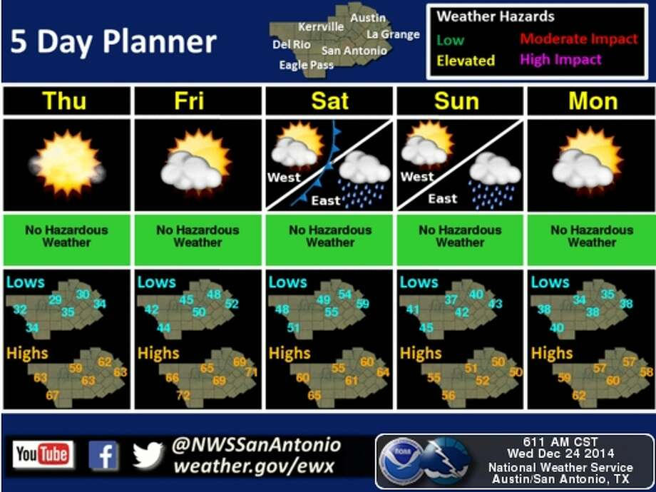 San Antonio is in for a chilly Christmas morning. Photo: National Weather Service