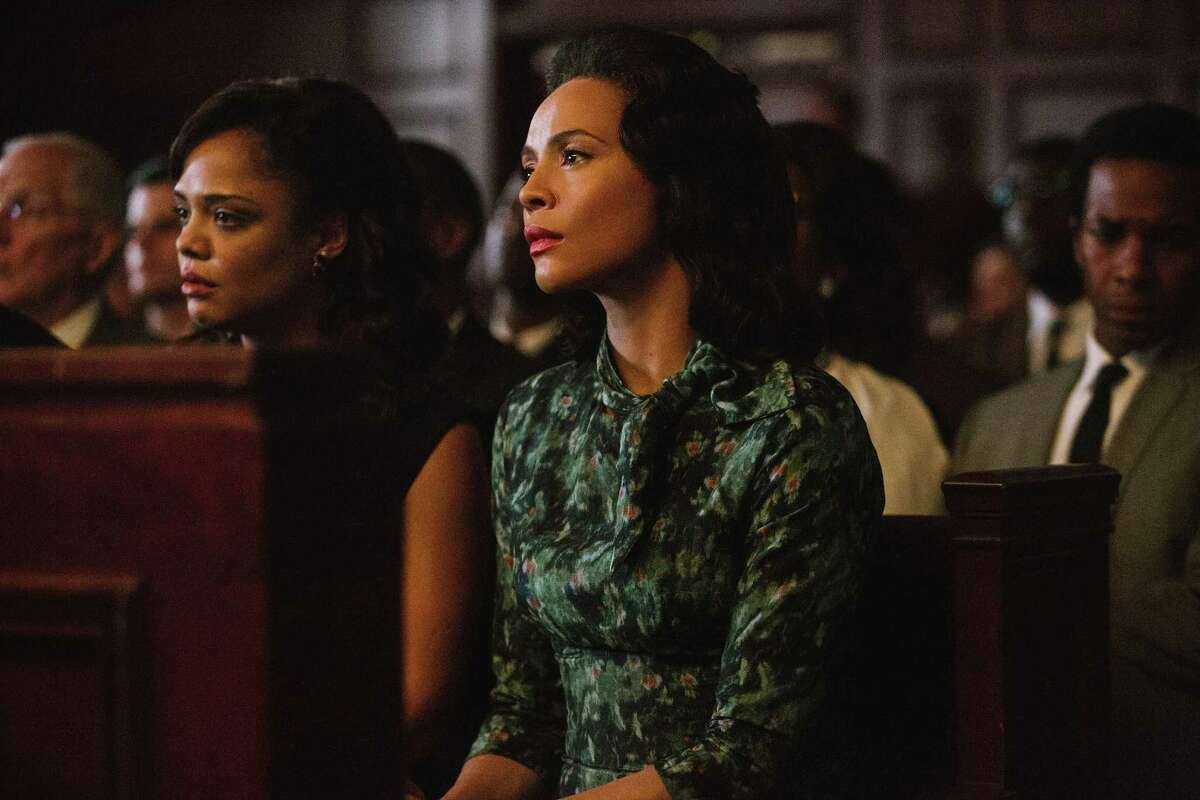 In this image released by Paramount Pictures, Carmen Ejogo portrays Coretta Scott King in a scene from