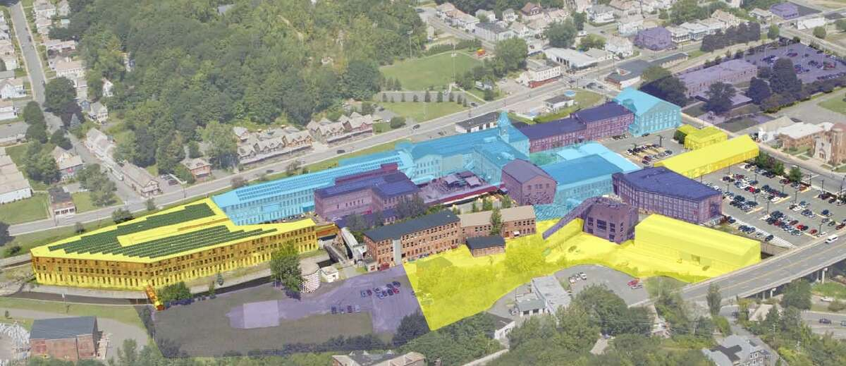 A projected depiction of Mass MoCA construction. Phase III is in yellow. The two previously completed phases are blue and purple. (Mass MoCA)