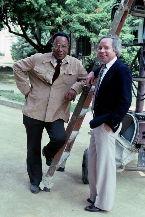 """Brandon Stoddard, right, with Roots author Alex Haley in 1979. Stoddard, a television executive at ABC who shepherded the production of multipart drama """"Roots"""", died Monday at his home in Los Angeles. Stoddard was born  in Bridgeport, Connecticut, on March 31, 1937. Photo: ABC Photo Archives, ABC Photo Archives Via Getty Ima / 2008 American Broadcasting Companies, Inc. ABC Photo Archives/ABC via Getty Images"""