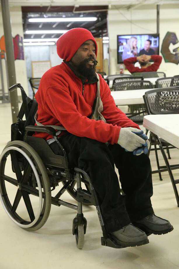 Chris Easterling, who is homeless, says he moved from Min ne a po lis to Denver so he could get reliable access to marijuana to help ease the pain of multiple sclerosis. Photo: Brennan Linsley / Associated Press / AP