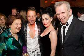 Fulk, whose company also does branding and event planning, hosted a dinner for the opening of a Jean Paul Gaultier retrospective at the de Young Museum in 2012. Fulk, second from left, is seen with (from left) renowned fashion journalist Suzy Menkes, burlesque star Dita von Teese, and Gaultier at far right.