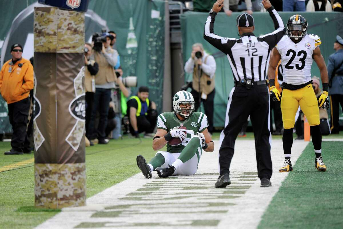 New York Jets rookie tight end Jace Amaro catches a pass for a touchdown during the first half against Pittsburgh on Nov. 9 in East Rutherford, N.J.