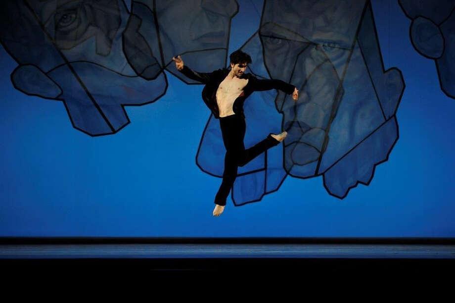 "San Francisco Ballet principal Davit Karapetyan in the second movement of Alexei Ratmansky's ""Shostakovich Trilogy."" Photo: Erik Tomasson / ONLINE_YES"