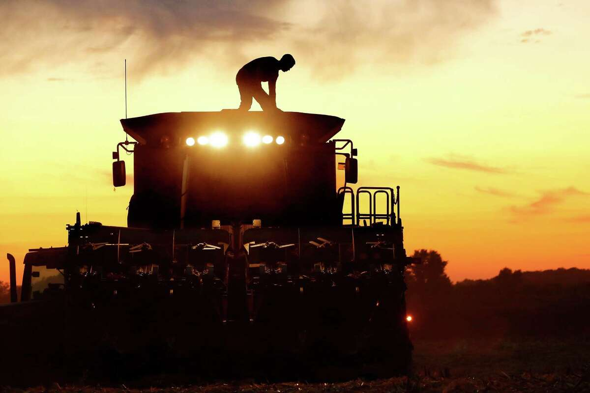 A central Illinois corn farmer, on top of his combine, is silhouetted against the setting sun while harvesting corn in Pleasant Plains, Ill. U.S. agriculture has a big appetite for freer trade with Cuba, and corn is one of the main products Cuba now buys from the United States.