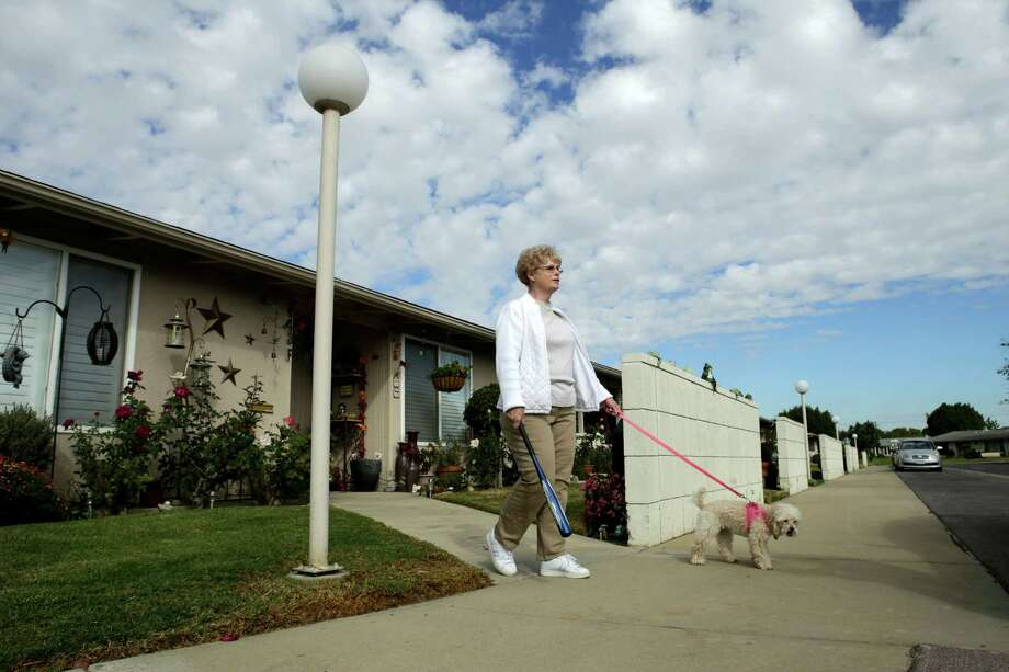 Linda Peters carries a baseball bat to ward of coyotes as she walks through Seal Beach with Angel. Photo: Irfan Khan / McClatchy-Tribune News Service / Los Angeles Times