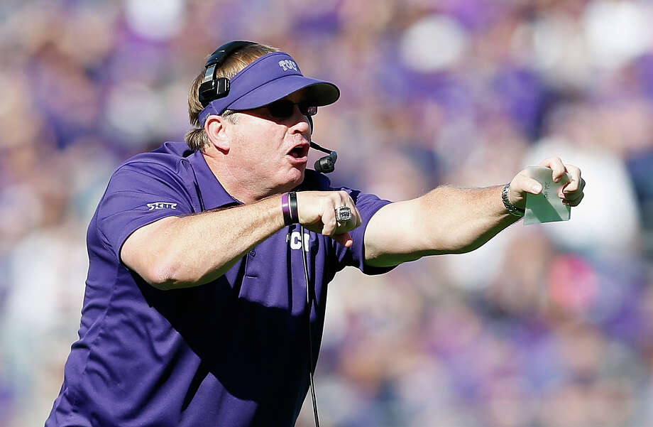 Head coach Gary Patterson of the TCU Horned Frogs reacts on the field during a game against the Iowa State Cyclones at Amon G. Carter Stadium on Dec. 6, 2014 in Fort Worth. Photo: Christian Petersen /Getty Images / 2014 Getty Images