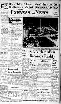April 6, 1968 Photo: Express-News File Photo