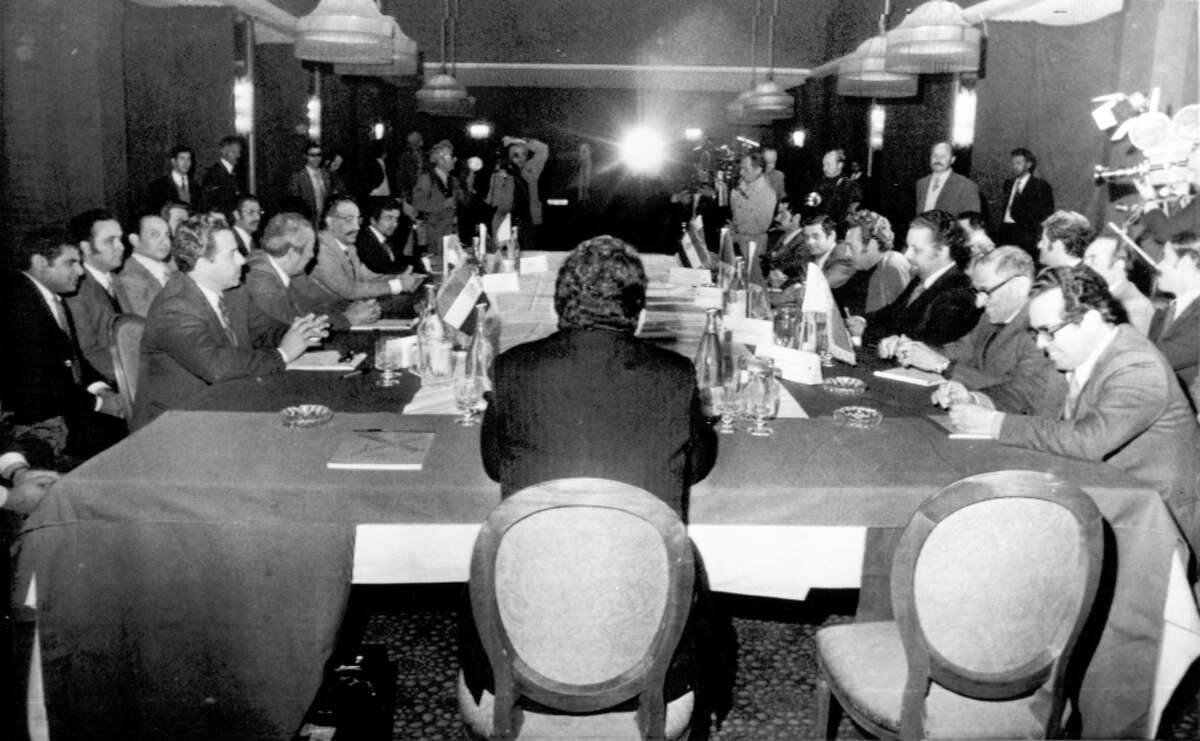 Tripoli, LIBYA, Mar. 14, 1974 -- General view of meeting of oil ministers of nine Arab countries in Tripoli, Libya. The meeting would be the first following the Arab-Israeli War in 1973. (AP Wire photo)