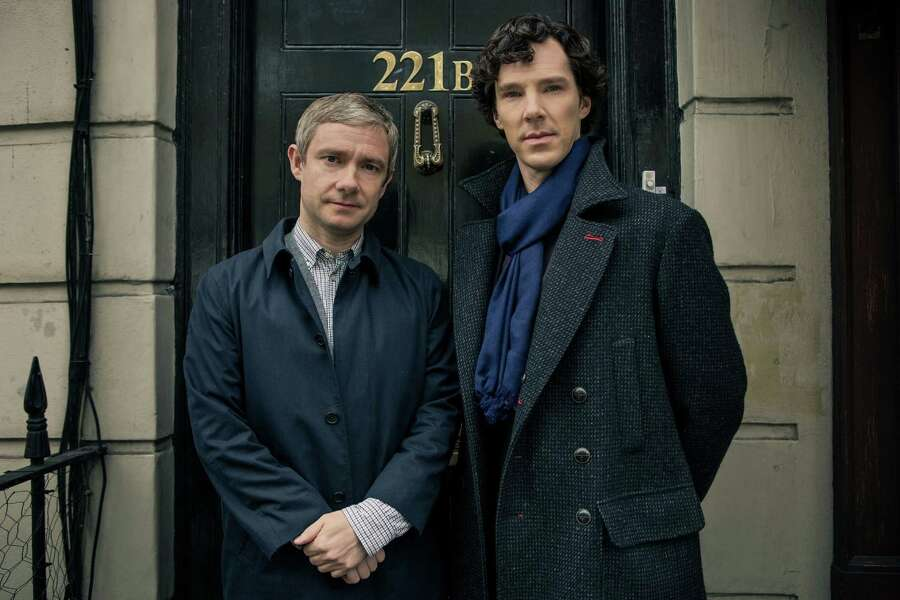 "PBS's ""Sherlock,"" starring Benedict Cumberbatch as the title character and Martin Freeman as John Watson, is a modern take on the classic mystery novels by Sir Author Conon Doyle. While the episodes don't mimic the books to a T, you can catch blips where elements of the famous literary works made their way into the show. Photo: Robert Viglasky, HO / MCT"