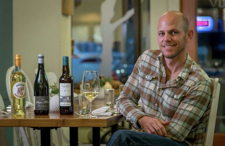 Sommelier Chris Deegan with a Cecchi Americano, 2012 Thibaud Boudignon Anjou Blanc, and a Bodegas Tradition Amontillado at Marla. Photo: John Storey / Special To The Chronicle / ONLINE_YES