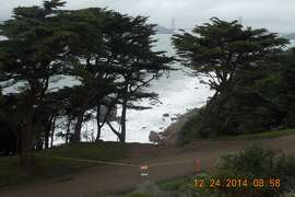A view of the Coastal Trail from the El Camino Del Mar Trail.