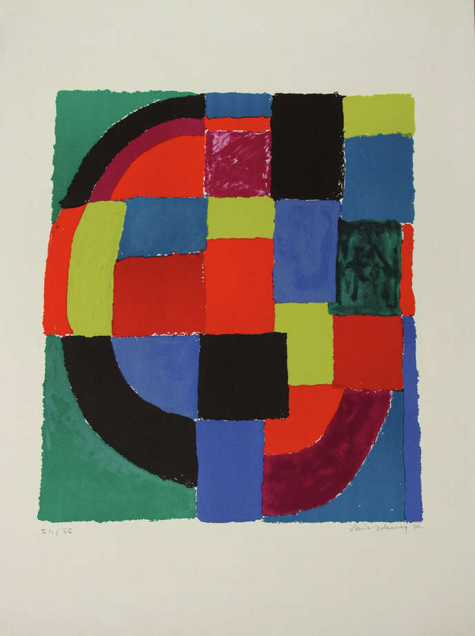 """""""Guepard,"""" a print by the late artist Sonia Delaunay (1885-1979), is among about a dozen prints on display at the Greenwich Arts Council in Greenwich, Conn., through Wednesday, Jan. 7, 2015. Delaunay was known for her use of bright colors and geometric designs. Photo: Contributed Photo / Stamford Advocate Contributed photo"""