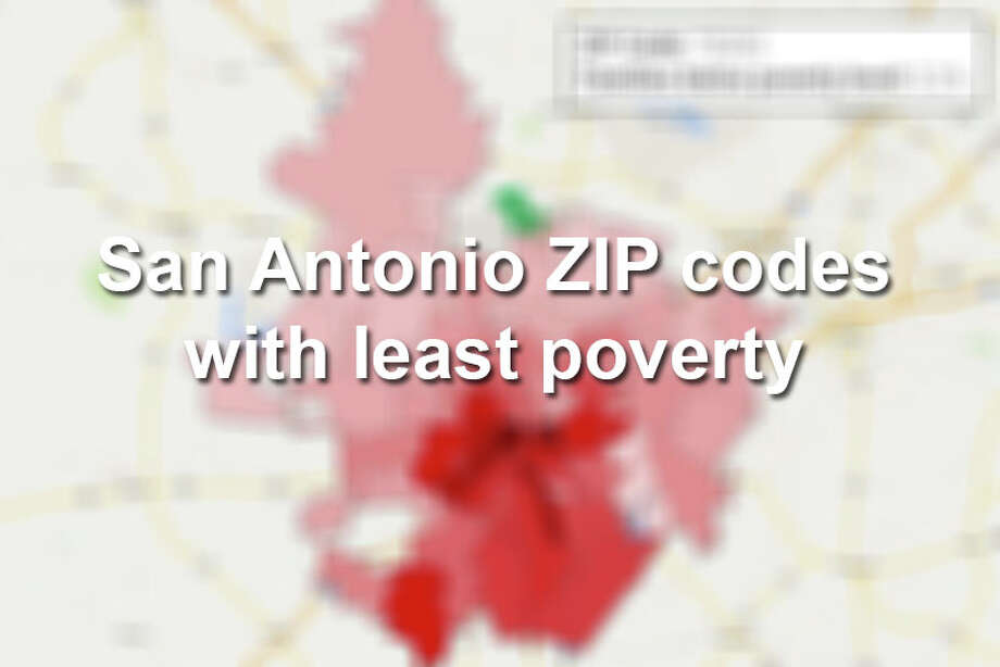 Here are 20 of the San Antonio ZIP codes with the lowest percentages of families whose income in the past 12 months fell below the poverty level.Click through to see which zip codes have the highest percentage of poverty. Photo: Tyler White