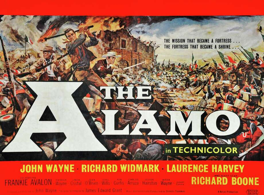 """The Alamo,"" which marked John Wayne's directorial debut, is probably most well-known movie about San Antonio that wasn't actually filmed here. (It was filmed outside San Antonio at a set in Brackettville, Texas.) Take a look at some stills from the Oscar-winning film.PHOTO: A posted for ""The Alamo"" starring John Wayne, Richard Widmark, Laurence Harvey and Richard Boone. Photo: Universal History Archive, Getty Images / Universal Images Group Editorial"
