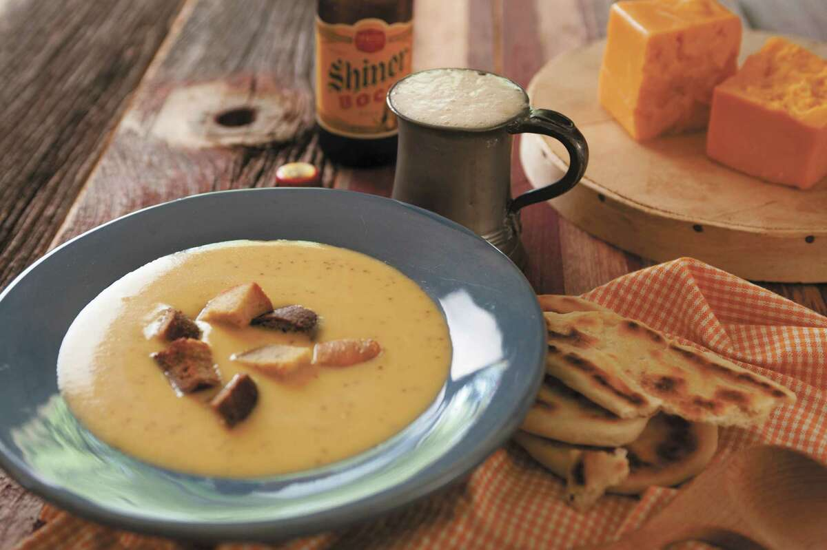 """Shiner Bock and Cheddar Cheese Soup with Jalapeños and Garlic Croutons from ?""""Texas on the Table: People, Places and Recipes Celebrating the Flavors of the Lone Star State,?"""" by Terry Thompson-Anderson"""