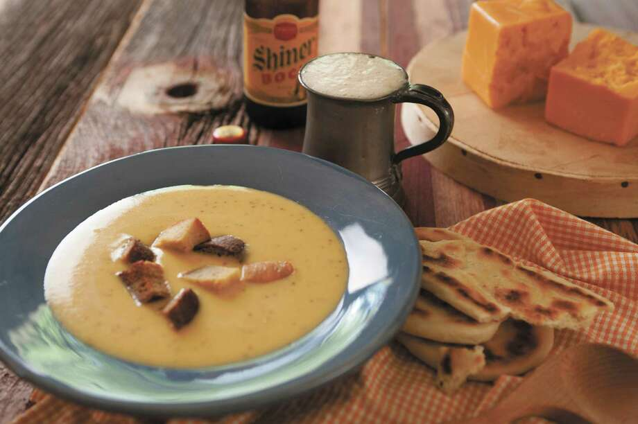 "Shiner Bock and Cheddar Cheese Soup with Jalapeños and Garlic Croutons from ""Texas on the Table: People, Places and Recipes Celebrating the Flavors of the Lone Star State,"" by Terry Thompson-Anderson Photo: Sandy Wilson /Courtesy Photo / ©Sandy Wilson Photography"